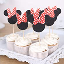 Hongkai 24PCS Mouse Cake Theme Cake Toppers Cupcake Kids Happy Birthday Gender Reveal Baby Shower Wedding Party Decorations Supplies