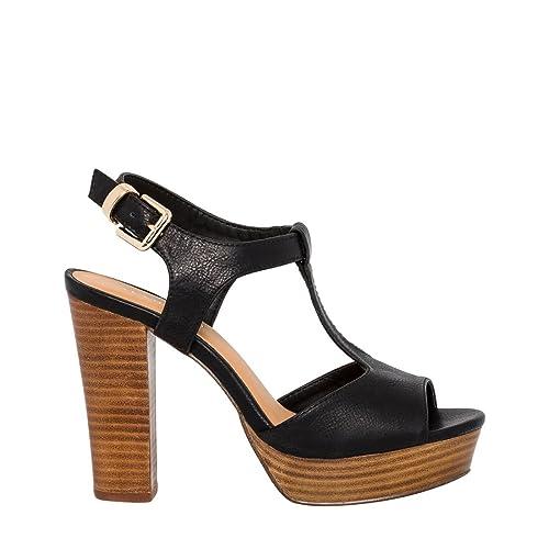 105d8626363 LE CHÂTEAU High Wooden Block Heel T-Strap Sandal