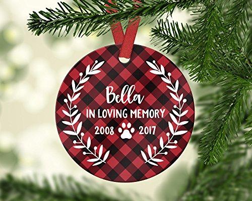 'N/A' Adorno conmemorativo para mascotas con diseño de perro perdido, regalo personalizado de cerámica para árbol de Navidad