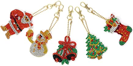 Fan-Ling Christmas DIY Special Shape Full Diamond Diamond Pattern Key Ring Set,Multicolor Diamond Embroidery Key Chain,Cell Phone Chain, Resin Rhinestones Pendant Holder(H:5PCS-Christmas)