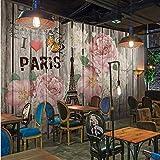 Wanghan Papel Tapiz 3D Papel Tapiz De Foto Personalizado Retro Floral Torre De París Fondo Decorativo Papel Tapiz Restaurante Sala De Estar Bar Mural-400Cmx280Cm