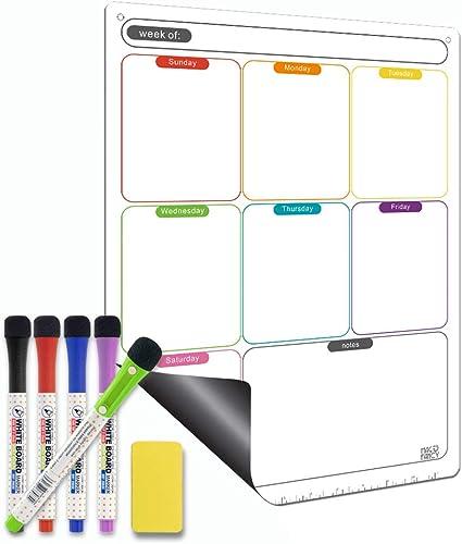 Magnetic Calendar for Refrigerator Set. Weekly Dry Erase Fridge Calendar Whiteboard Meal Planner Menu Board - Thicken...