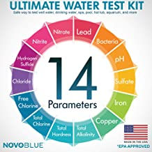 NovoBlue 14-in-1 Home Water Test Kit - Great for Well, Pool, Spa, Hot Tub, Aquarium, and Drinking Water - Detects Lead, Bacteria, Chloride, Chlorine, pH, and More! Made in The USA - EPA Approved
