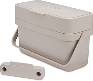 Joseph Joseph 30046 Compo Easy-Fill Compost Bin Food Waste Caddy with Adjustable Air Vent, 1 gallon / 4 liters, Stone