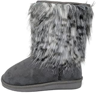Women's Suede Mid Calf Faux Fur Lined Warm Winter Bootie Snow Boots