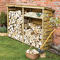Keeps logs dry and aired Pressure treated to protect against rot Shelf included Natural timber finish 1560mm x 2290mm x 560mm