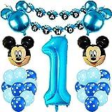 Kit Decoración Fiesta Cumpleaños Niño, FANDE Mickey Mouse Globos Decoraciones de Fiesta temática Azul de Mickey para Decoración de Fiesta de Cumpleaños