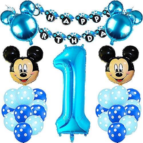 Mickey Mouse Luftballon, Geburtstagsdeko 1 Jahr Junge Geburtstagsdeko Blau für Jungen Set ouse Themed Geburtstag Dekorationen für 1 jahr Junge Sohn Geburtstag Party Dekoration