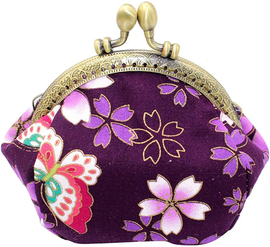 SOOTOP Floral Buckle Coin Purses Vintage Pouch Kiss-lock Change Purse Wallets for Women Girls Kids