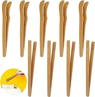 Huahao Pinces en Bambou 12 Pcs Pinces de Cuisson en Bois pour Toast, Salade, Barbecue, Pâtisserie Pinces à Grille-Pain Pin...