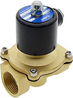 YXQ DC 12V Electric Solenoid Valve 1PT Female Threaded Brass Electromagnetic Control Pipe 2Way Normally Closed for Liquid Water Air Diesel 2W-250-25