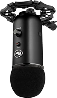 Blue Yeti Shock Mount and Foam Windscreen - Mount Stand Made from Quality Aluminum to Eliminate Vibrations - Acoustic Foam Act as a Pop Filter for your Mic (Black)