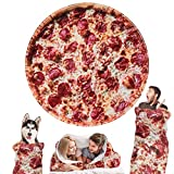 Outivity Burritos Wrap Novelty Blanket, Realistic Pizza Blankets,Soft Plush Round Throw Blanket for Bed,Couch or Travel -80'