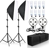 eWINNER Photo Studio Lighting Kit with 2pcs Softbox,2pcs 4in1 Bulb Socket,8pcs 150W Bulb,2pcs Light Stand,and Carrying Bag