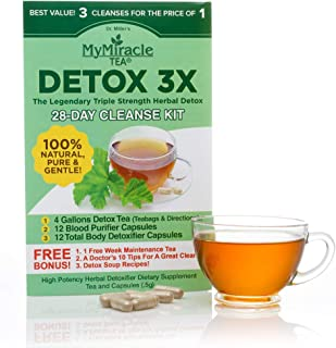 Herbal Detox Cleanse Kit by My Miracle Tea: 3-Part Triple Cleanse for Weight Loss, Purity and Health (28 Day)