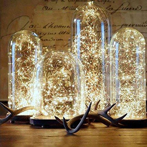 ELINKUME 32.7ft/10M 100er LED Silberdraht Lichterkette Warmweiß Batterie-betrieben Beleuchtung Deko für Party, Garten, Weihnachten, Halloween, Hochzeit