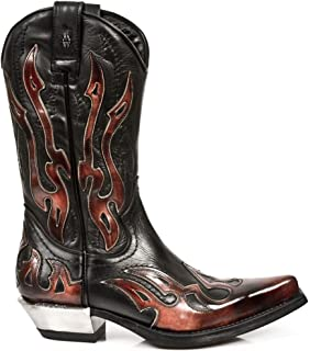 New Rock Newrock Unisex 7921-S2 Leather WEST Black Red Cowboy Leather Boots