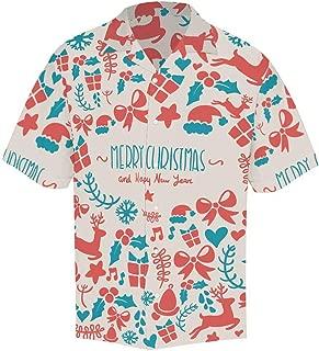 INTERESTPRINT Comfortably Collared Happy Christmas Snowflake Casual Shirts V-Neck Short Sleeve Beach Top