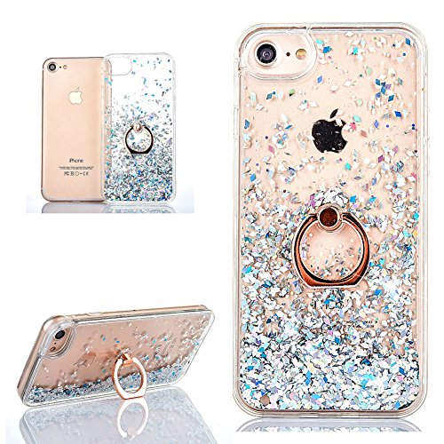 Hancda Liquido Custodia per iPhone 8 / iPhone 7, Cover Case Custodia Liquido Glitter Brillantini Dura Trasparente Cover Case con Anello Ring Supporto Rotazione per iPhone 8 / iPhone 7,Argento