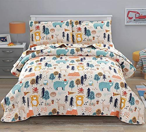 ARL HOME Kids Quilt Twin Size Boys Cute Bedspread Coverlet Animal Bear Bedding Children Printed Quilt Animal Forest Cartoon Bedspread Reversible Lightweight Kids Quilts+2 Pillow Shams for All Season