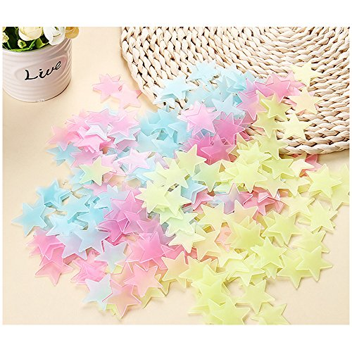 Hamhsin 100PCS Home Luminous Wall Stickers Noctilucent Stars Stickers Ceiling Glow In The Dark Stars Noctilucous Stickers Decal Baby Kids Bedroom (100PCS) (Multi)