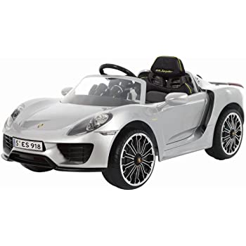 ROLLPLAY Premium Elektrofahrzeug mit Fernsteuerung und Rückwärtsgang, Für Kinder ab 3 Jahren, Bis max. 35 kg, 12-Volt-Akku, Bis zu 5 km/h, Porsche 918 Spyder, Silber