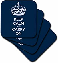 3dRose CST_123114_2 Keep Calm and Carry On. Navy. Soft Coasters, Set of 8