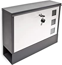 Relaxdays Modern Coloured Mailbox Letterbox Lockable with Two Keys & Newspaper Slot, Black/White
