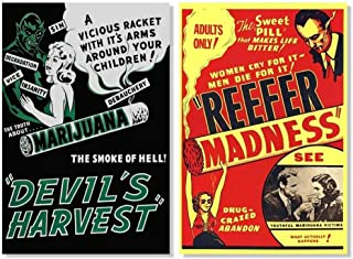 Set of 2 Devils Harvest Reefer Madness Marijuana Retro Movie Collectors Posters Set Bundle 24x36 Inch