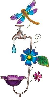 Regal Art & Gift 12149 Faucet Bird Feeder Dragonfly Garden Stake, Blue/Purple