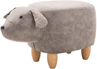lquide Footstools Solid Wood Footstool Adult Leather Sofa Stool Creative Shoes Stool Padded Non-Slip Foot Chair Light Gray Small Milk Dog Porch