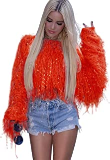 KOOBETON Womens Loose Crewneck Pullover Batwing Sleeve Knit Sweater with Tassels