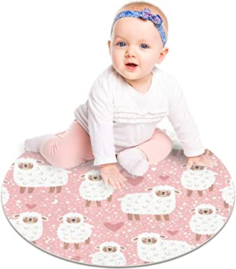 Floor Mat Cute Sheep Heart Star and Dots Modern Round Rug Living Room Bedroom Bathroom Kitchen Floor Mat Home Decor 23.6""