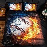 BH-JJSMGS Bedruckte Bettbezüge und Kissenbezüge für Fußball, Basketball und Rugby, weiche Mikrofasern für Pflegeleichte Bettwäsche, US-King260 * 230 cm (dreiteiliger) Baseball