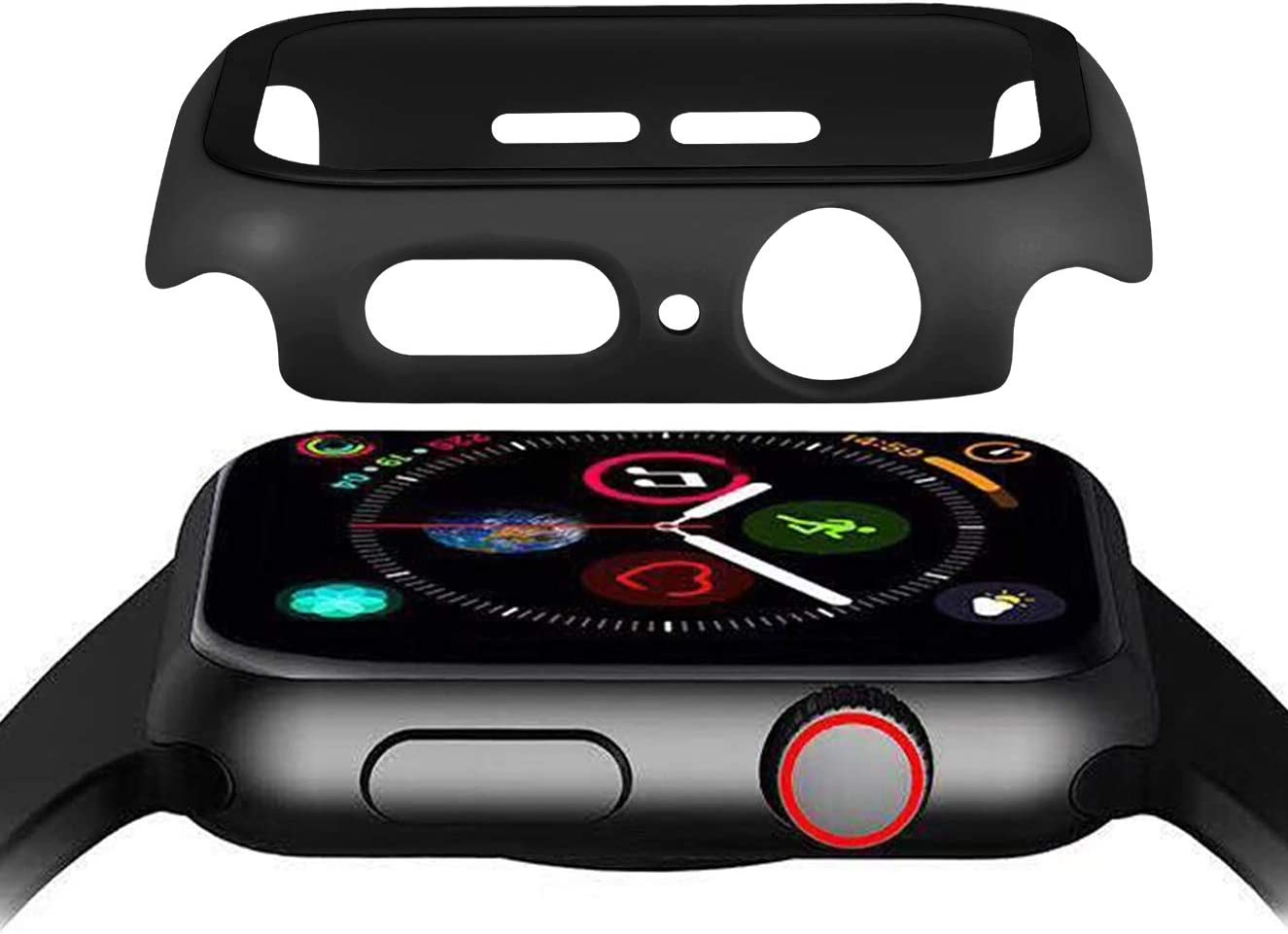 Hontao Hard PC Case with Tempered Glass Screen Protector, Full Coverage Ultra-Thin HD Clear Touch Sensitive iWatch Cover Compatible Apple Watch Series SE 6/5/4 (Black, 44mm)