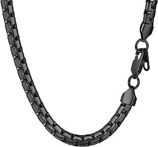 PROSTEEL Cadena Hombre de Acero Inoxidable Pulsera/Collar Eslabones Cadena Haricot Veneciana Grande 4mm/6mm Ancho, Dorado/Negro/Plateado, 46cm/51cm/55cm/61cm/66cm/71cm/76cm Opcional