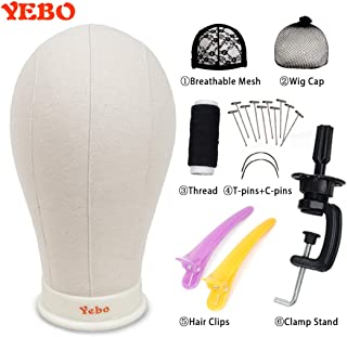 YEBO 23 Inch Canvas Head Polyurethane Block Wig Mannequin Head for Display Style With Mount Hole