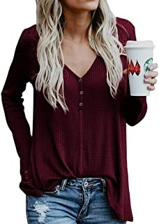 Unidear Womens Casual Batwing Long Sleeve V Neck Button up Loose Knit Sweaters Tops