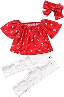 2216db2e62837 Tranyee Baby Girls Off-Shoulder T-Shirt Blouse Tops + Ripped Pants Clothing  Sets