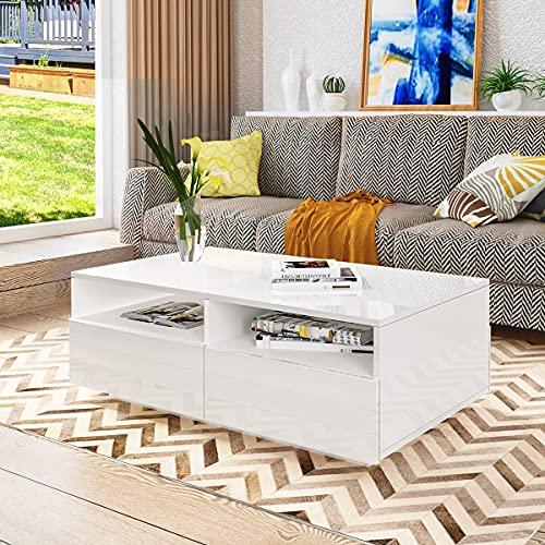 Senvoziii Brillance Table de Salon Moderne et élégante avec 4 Tiroirs de Stockage 2 Cas Ouverts Table Basse,Table de Canapé pour Le Salon 85 x 55 x 35 cm (Blanc)