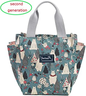 Lunch Bag Box Tote Handbag with Water Bottle Holder for Women Mom Snack Bag Bear