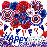 Mauts-inus 4th of July Patriotic Decorations Set,27pcs Independence Day Party Supplies-Red White Blue Hanging Paper Fans,USA Flag Pennant,Red Blue Stars,Pom Poms Party Favors