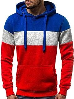 Mens Long Sleeve Color Block Patchwork Hoodie Loose Pullover Sweatshirts Top