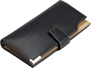 Classic Leather Long Men Flipout Travel Credit Tri-fold Card Holders Identification Cases Organizer Money Clip Coin Purse