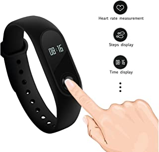 Fitness Tracker Mi Band 2 Heart Rate Monitor Bluetooth 4.0 Wristband with OLED Display (Black)