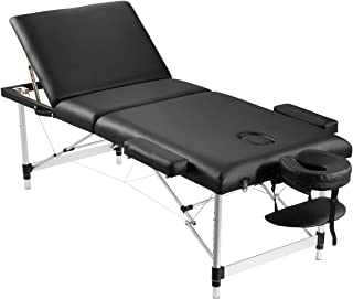 Aluminium Portable Massage Table Bed 3 Fold Foldable Therapy Treatment Spa Bed Portable Beauty Black 75cm Adjustable Heigh...