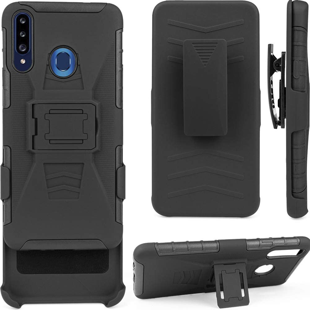 TKMore Dual-Layer Cell Phone Case for Samsung Galaxy A20S with Belt Clip Holster and Kickstand Holder Anti-Knock Cover Black