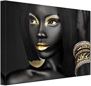 Egyptian Decor Queen Woman Portrait Artwork Gallery Canvas Prints Living Room Wall Decor Black Art Paintings for Wall Art Frame Easy to Hang