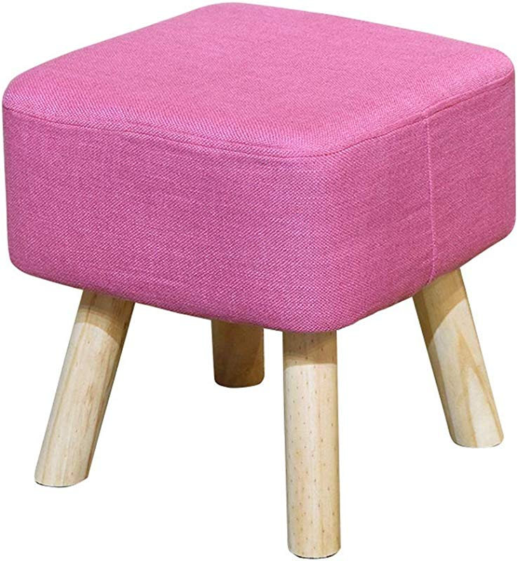 Modern Large Solid Wood Square Footstool Pouffe Chair Foot Stool 4 Wooden Legs And Linen Cover Pink
