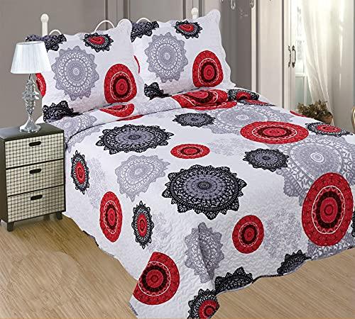 ForenTex- Colcha bouti Reversible, (S-2633), Cama 90 y 105 cm, 190 x 260 cm, Estampada Cosida, Mandalas Rojo y Negro